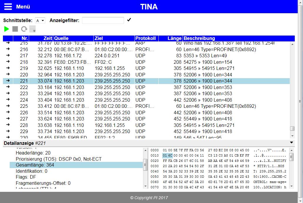 TINA - mobile intelligent network-analyser - Process Informatik